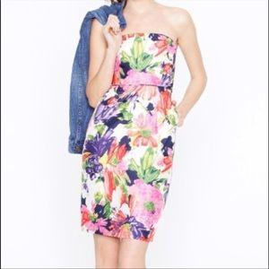 J. Crew Ella Garden Strapless Silk Floral Dress 0